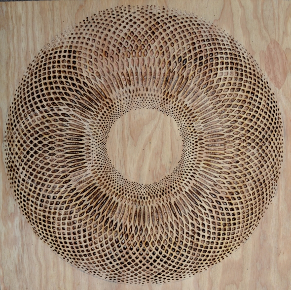 """Elipsis Nell, 60.5""""x 60.5"""" Carved Plywood, Douglas Fir. 2014"""