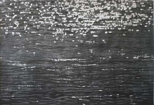 """Mila Libman, Meditations, charcoal and ink on paper, 55""""x 85"""""""