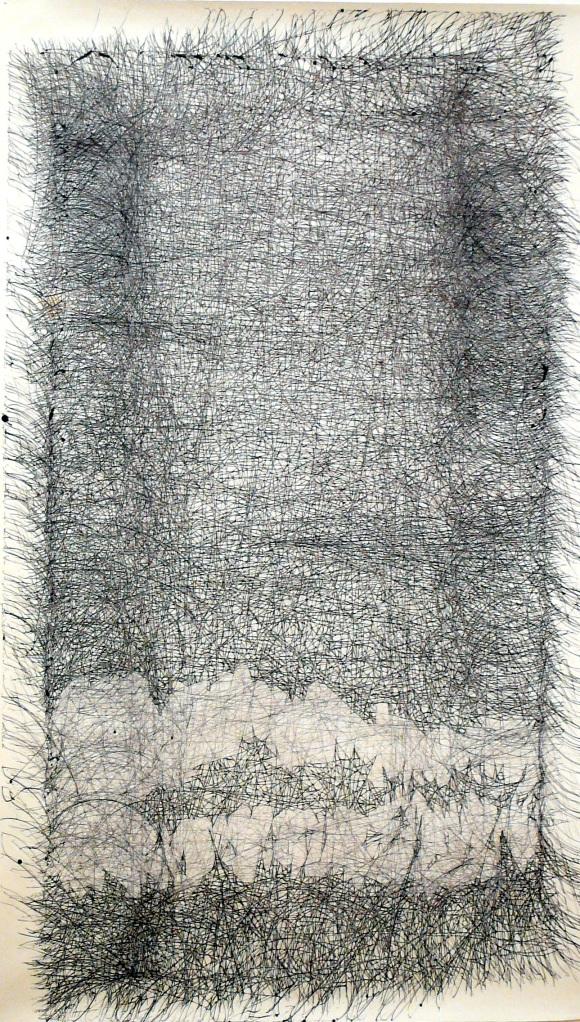 Bridge, drawing, ink on paper, 44″x72″, 2008