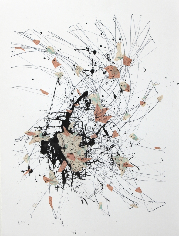 "Afterglow #1, ink, blown ink and collaged antique USGS maps on paper, 22""x30″, 2014"