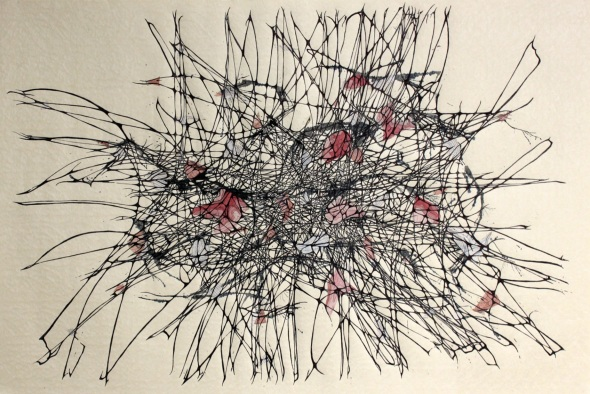 Tropoplasm, blown ink, collaged antique USGS maps,  and hand drawing on Japanese rice paper, 2012